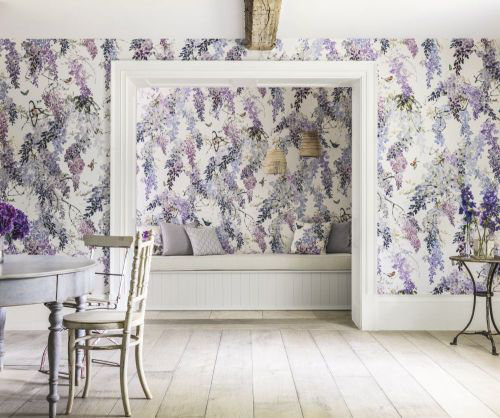 apple kitchen rugs cabinet franchise wisteria falls panel a by sanderson - lilac : wallpaper direct