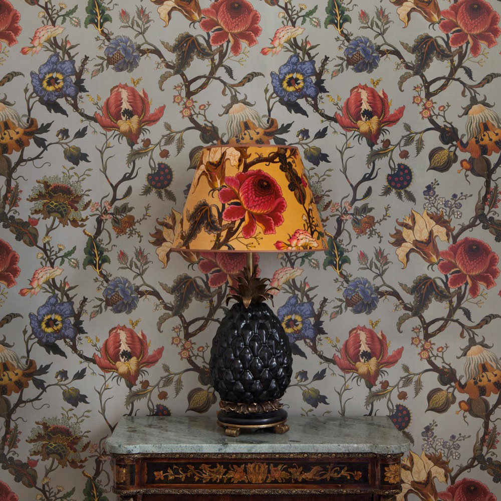 kitchen wallpaper patterns mini kitchens artemis by house of hackney - dove grey : direct