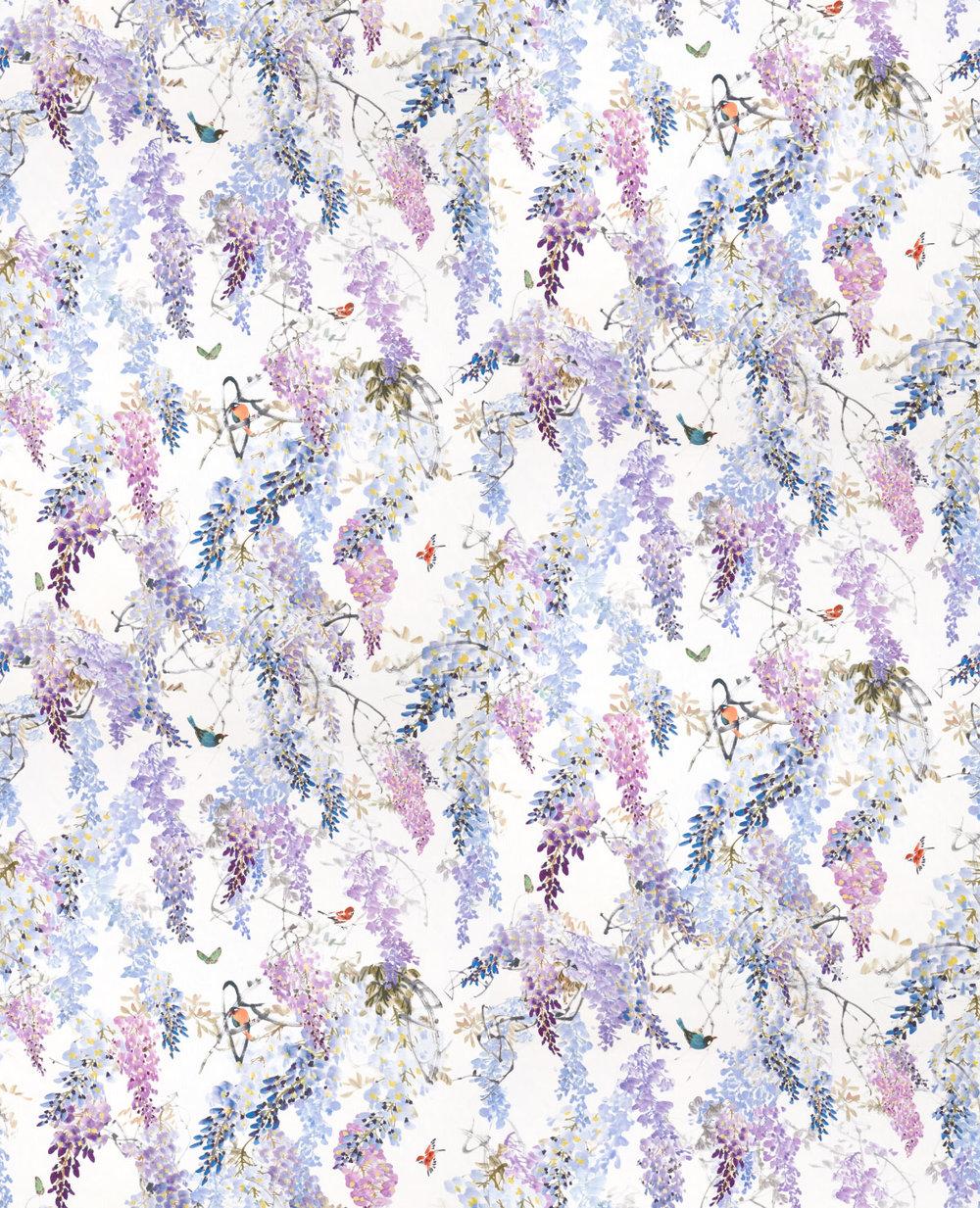 Sanderson Wisteria Falls Wallpaper Wisteria Falls By Sanderson Amethyst Wallpaper Direct