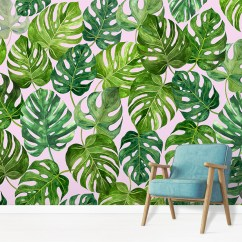 Chair Design Wallpaper Awards Monstera Tropical Jungle Leaf Wallcovering Wallpapered Green Deliciosa Swiss Cheese Plant Wall Mural In Situ With Comfy