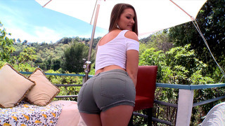 Abby Cross in a tight jeans shorts showing off her perfect ass thumb