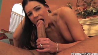 Black haired milf India Summer rides on hard cock thumb