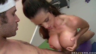 Busty slut Ariella Ferrera gives head to James Deen thumb