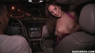 Brunette slut Lynn Love sucks cock in moving car thumb