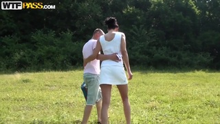 Teen amateur couple walks in the park to make wild sex thumb