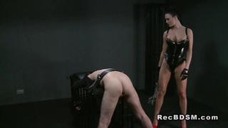 Bent over slave dude flogged domination wanking thumb