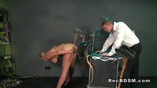 Huge tittied sub gets cunt vibed in bdsm thumb