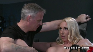 Busty blonde sub strapped in gyno chair squirting thumb