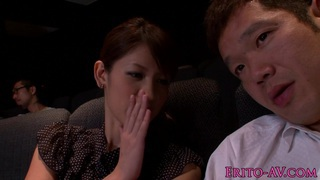 Japanese cutie tugging and sucking in cinema thumb