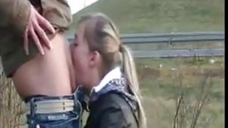 Blonde Deep Throating By The Road thumb