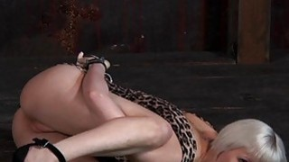 Tied up beauty receives pleasuring for her twat thumb