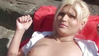 Euro blonde amateur sucks cock in public thumb