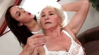 Sexy brunette loves busty hairy granny thumb