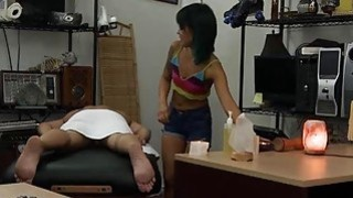 Asian girl pawns her pussy and pounded in the back office thumb
