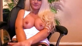 Busty mature having a naughty solo masturbation with sex Toy thumb