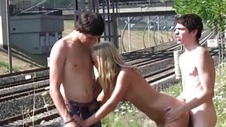 Blonde teen girl street PUBLIC gangbang in broad daylight thumb