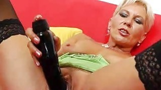 Orgasmic blonde mom playing with herself with toys thumb