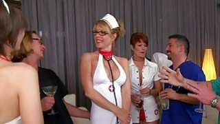 Swingers in nurse uniform give blowjob thumb