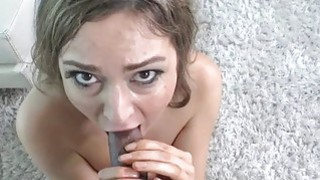 Tall model takes her_first black cock at_casting thumb