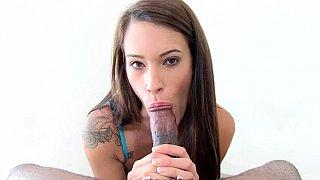 Cock craving slut sucks huge boner and strokes thumb