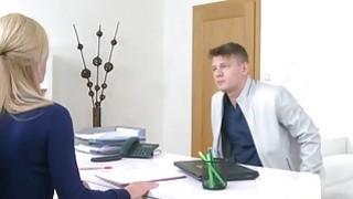 Handsome guy licks and fucks female agent thumb
