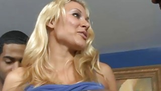 Big boobs blonde babe interracial gangbang on the couch thumb