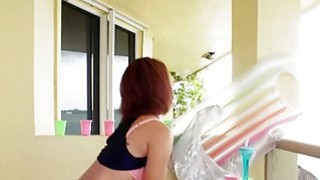 Cute latina teen babe Raven Redmond fucked on the balcony thumb