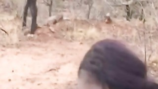 African cutie in stockings bends over and gets fucked by white_dude during safari thumb