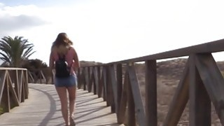Nude amateur babe walking on the beach then fucking thumb