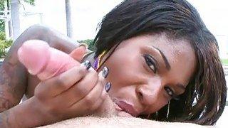 Ebony darling enjoys engulfing studs dick thumb