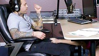 Busty redhead hottie Dani Jensen gets pounded by radio DJ thumb