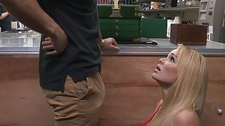 Big tits blonde woman railed by pawn man in his office thumb