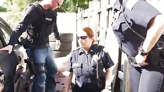 Outdoor interracial threesome with two busty female cops and big cocked stud thumb