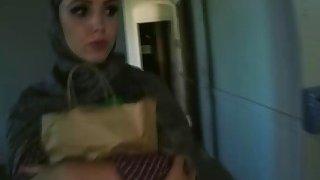 Slutty arab girl handles big dick with ease thumb