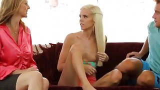 Slutty stepmom Julia Ann learns young Halle Von how to suck a hard_cock thumb