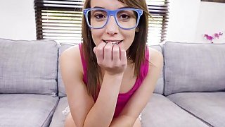 Petite teen in blue frame glasses bangs thumb