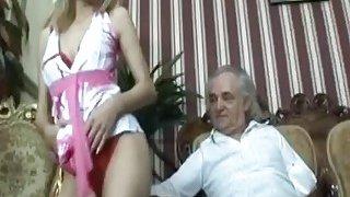 Slim blonde_mistress dancing teasing striptease in front of senior cock handicap sugar daddy thumb