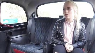 Sexy blonde babe sucks and rides cock in the taxi for free fare thumb