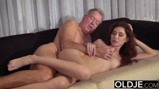Old Young Porn Natural Teen Takes Grandpa cock thumb