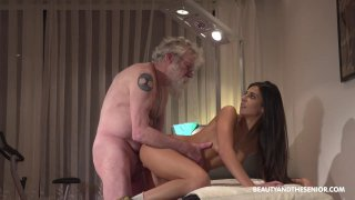 Cute brunette chick Angela has passionate sex with old man thumb