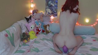 Cute redhead babe with small tits masturbates and toys herself thumb