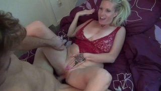 Busty mom seduces and fucks daughters boyfriend in small bed thumb