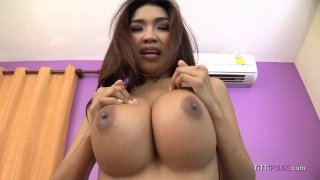 Yummy Thai girl with big tits sucks hard cock POV thumb