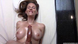 Beautiful MILF sucks and titty-fucks her black lovers monster cock thumb