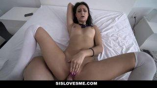 SisLovesMe Stepsister Drops On Her Knees For Cum thumb