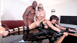 Virginal beauty and a MILF in an interracial 3some thumb