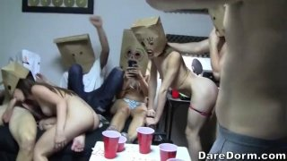 Big ass babe gets doggy styled in a funny sex party thumb