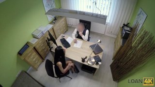Naughty hottie gets doggy styled on hidden cam in office thumb