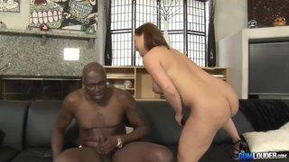 Katja Kassin sucking a big black cock thumb
