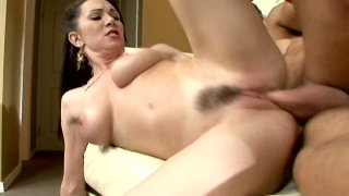 Hussy brunette Rayveness with her hairy pussy jumping on a cock and getting poked from behind thumb